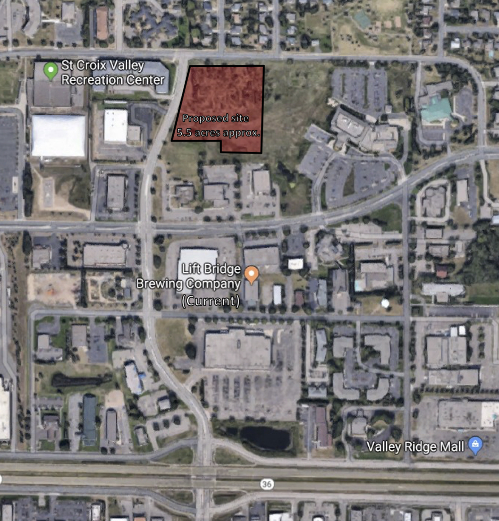 Lift Bridge Brewing purchased a five-and-a-half-acre property just north of its current location // Map via Google Maps