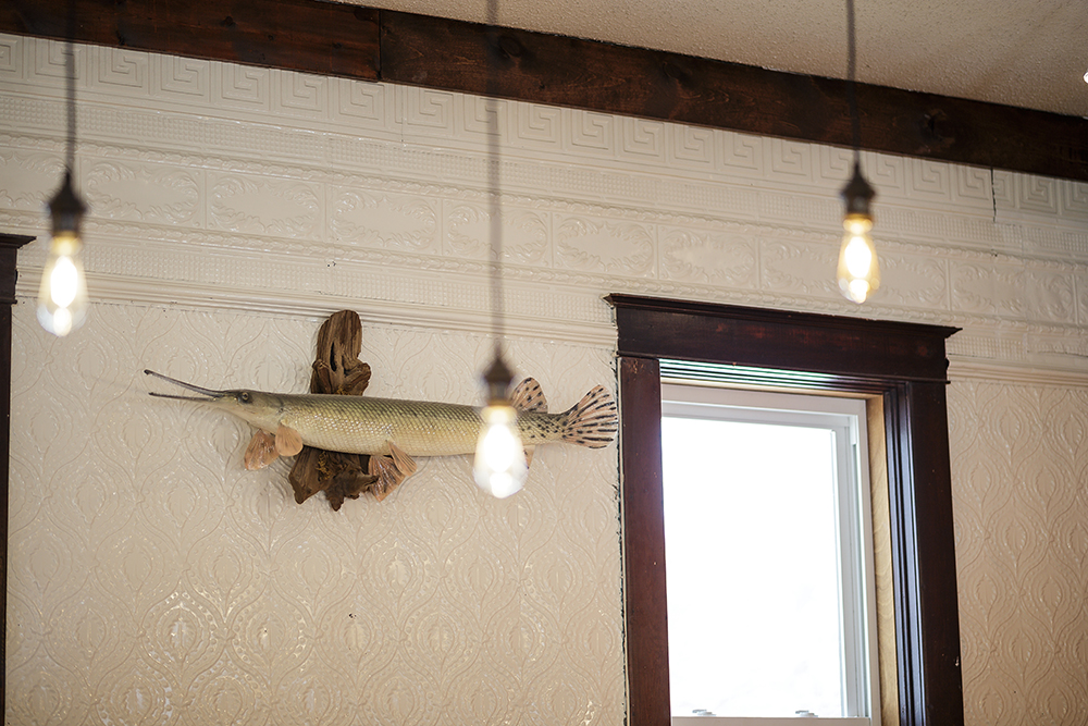 The longnosed gar hanging above the bar is the namesake of Garphish Brewing Company // Photo by Harrison Barden