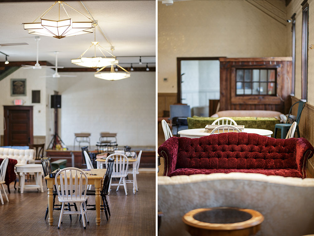 Above: The longnose gar is the namesake of the Bethel brewery. Below: The seating options create a laid-back atmosphere in Garphish Brewing's taproom // Photos by Harrison Barden