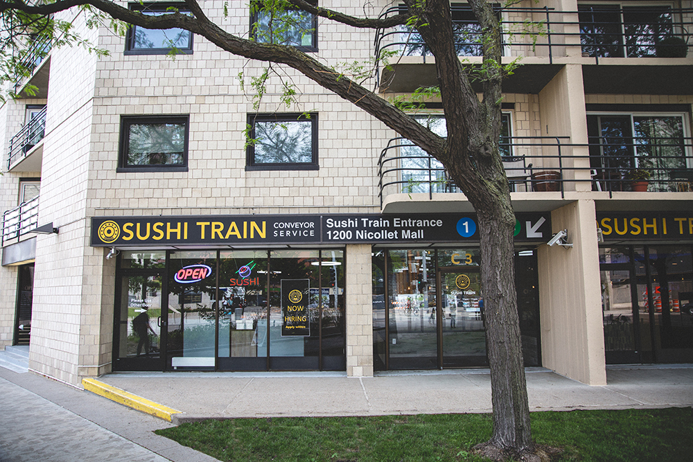 The store front of Sushi Train, which is at 1200 Nicollet Mall C3, Minneapolis // Photo by Sam Ziegler