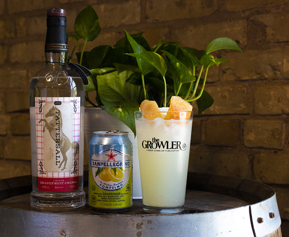 A Salty Dog cocktail, made from Tattersall's Grapefruit Crema, Gin, and Pompelmo Sanpellogreno // Photo by Aaron Job