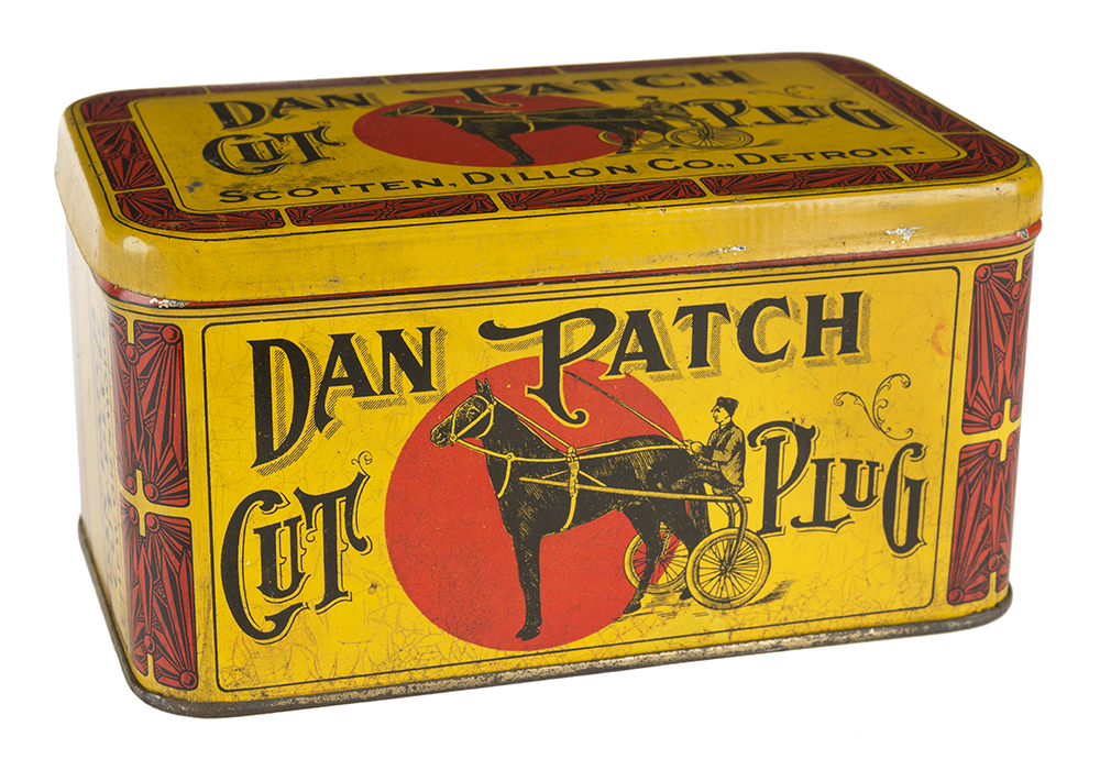 A tobacco tin featuring imagery of Dan Patch, circa 1910s // Photo courtesy Minnesota Historical Society