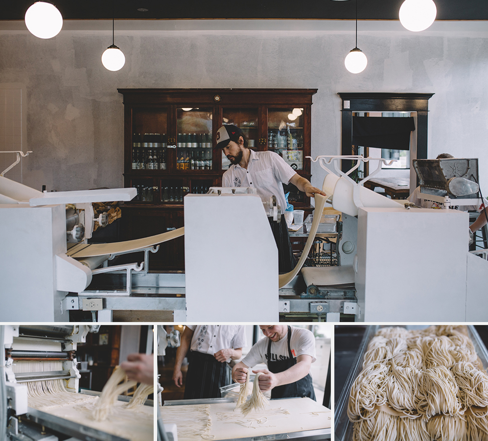 The noodle making machine and process at Tori 44 // Photo by Sam Ziegler