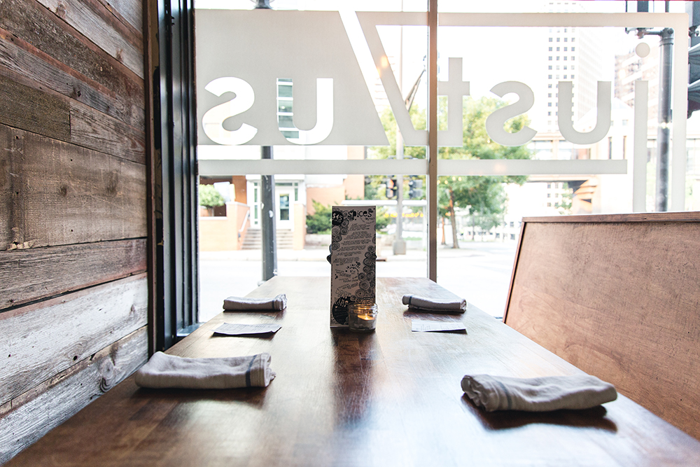 One of the tables at just/us on Wabasha Street North in St. Paul, Minnesota // Photo by Sam Ziegler