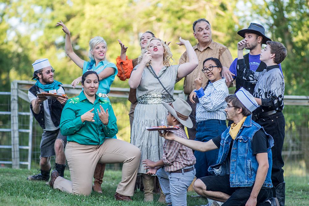 "The ensemble cast of ""Escape from Alcina's Island"" // Photo courtesy Picnic Operetta"