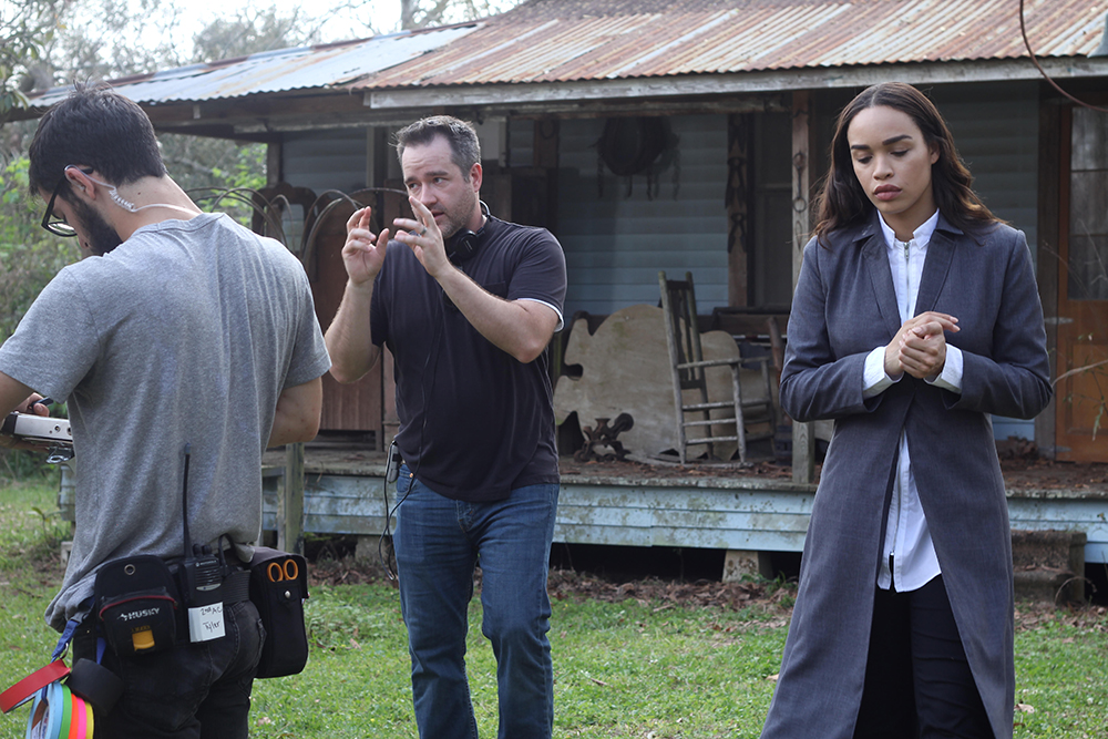"""A still of Matt Osterman, center, on set during the filming of """"Hover"""" // Photo courtesy SyFy Films"""