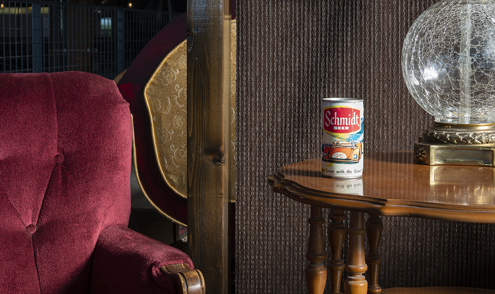 One of the antique Schmidt Brewing Company beer cans that is set to be on display in the seating area // Photo by Aaron Job