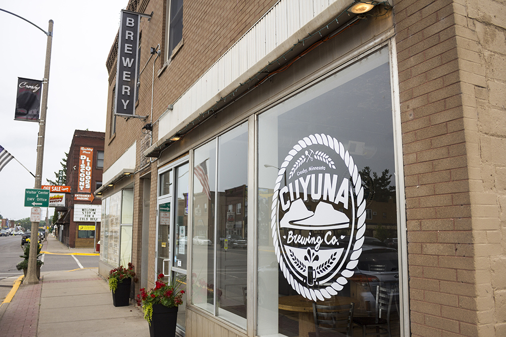 The front entrance of Cuyuna Brewing Company on Main Street in Crosby, Minnesota // Photo by Brian Kaufenberg