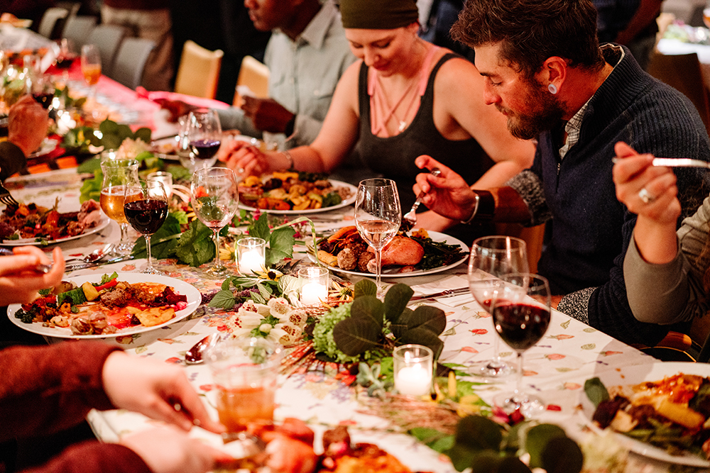 """The """"Guerrilla Harvest Dinner"""" held at Wild Rice Retreat that celebrated the birth of the Bayfield and Ashland chapter of the Wisconsin Farmers Union // Photo by Becca Dilley"""
