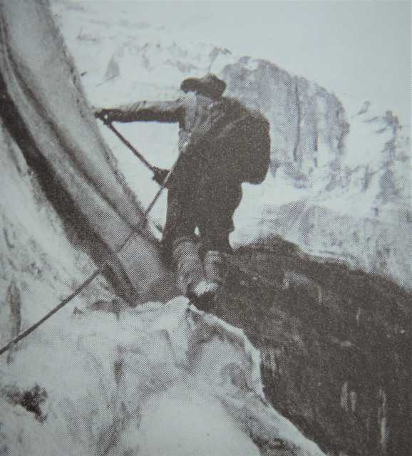 Johnstone Best lead-climbing an ice route in the Kootenay region of British Columbia, Canada, near Jumbo Mountain in 1923 // Photograph by Audrey Shippam, via Personal collection of Cheryl Jacklin-Piraino, Minnesota Historical Society