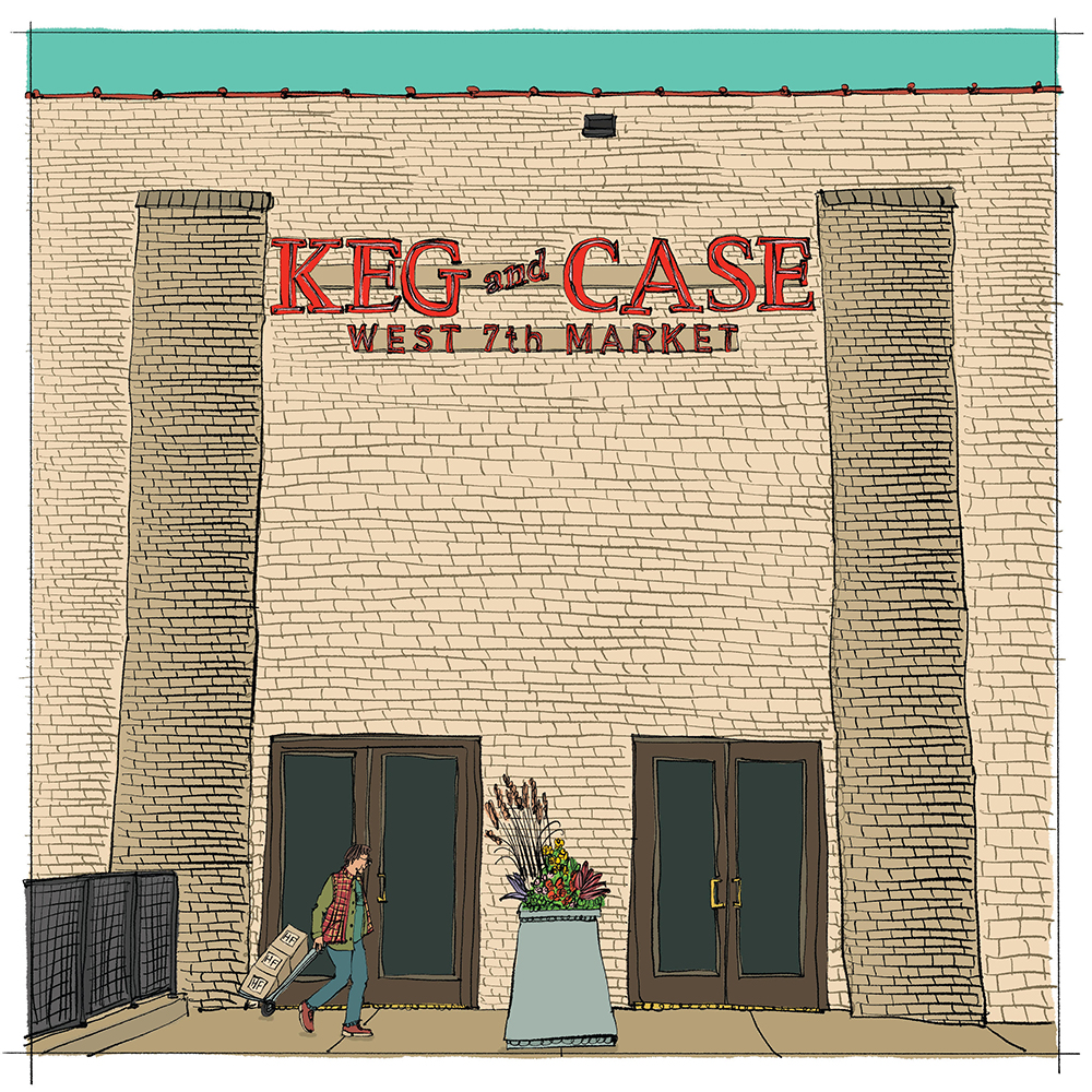 The entrance to Keg and Case West 7th Market // Illustration by WACSO