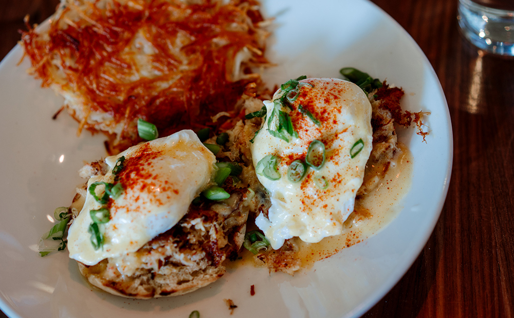 Crab Oscar Benedict at Benedict's Morning Heroes // Photo by Becca Dilley