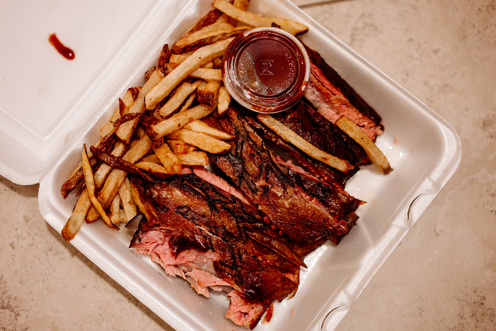 The half rack of St. Louis-cut ribs at Backyard Grill // Photo by Becca Dilley