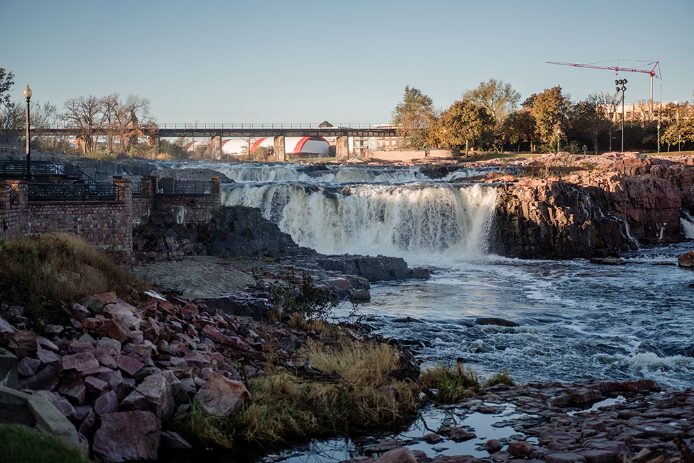 The falls at the center of Sioux Falls, South Dakota // Photo by Becca Dilley