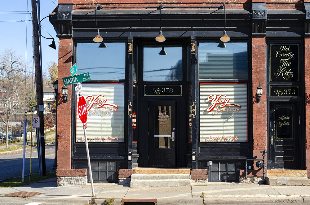 The exterior and front entrance of Yoerg Brewing Co. Saloon, on the corner of Maria avenue and Sixth street East in St. Paul, Minnesota // Photo by Aaron Job