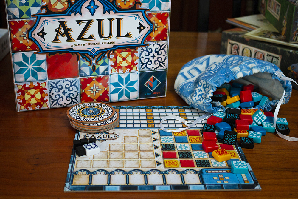The tiles, board, and pieces of Azul // Photo by Aaron Job