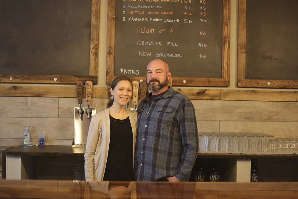 Amy and Mike McQuery, the founders and owners of Half Pint Brewing Company in Waseca, Minnesota // Photo by Louis Garcia