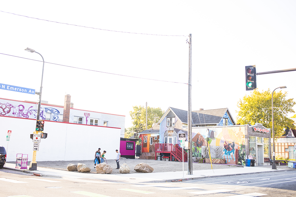 A vacant lot in North Minneapolis is the site of JXTA Arts' youth-designed art plaza and skatepark // Photo by Tj Turner