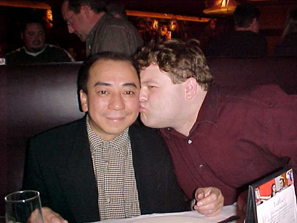Louis Lee, left, with Frank Caliendo, right at Acme Comedy Club's ten year anniversary // Photo courtesy Acme Comedy Club
