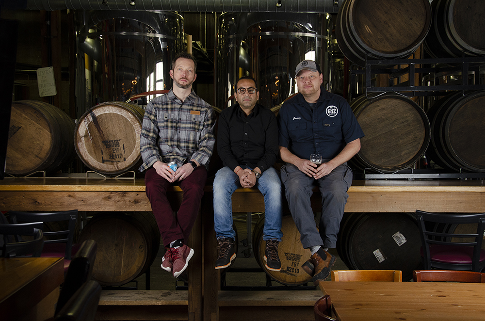 From left to right, Robert Kasak, Aditya Kalra, and Jamey Rossbach, co-founders and business partners of 612Brew in Northeast Minneapolis, Minnesota // Photo by Aaron Job