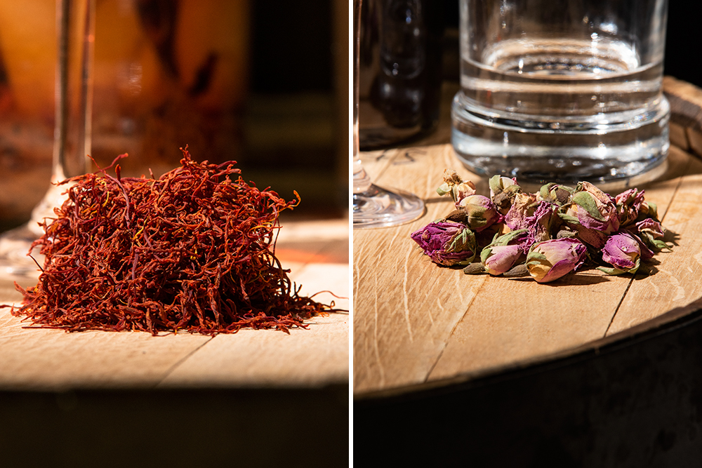 Saffron (left) and rose buds (right) are some of the botanicals called for in the 17th and 18th century spirits recipes recreated by Tattersall // Photos by Kevin Kramer