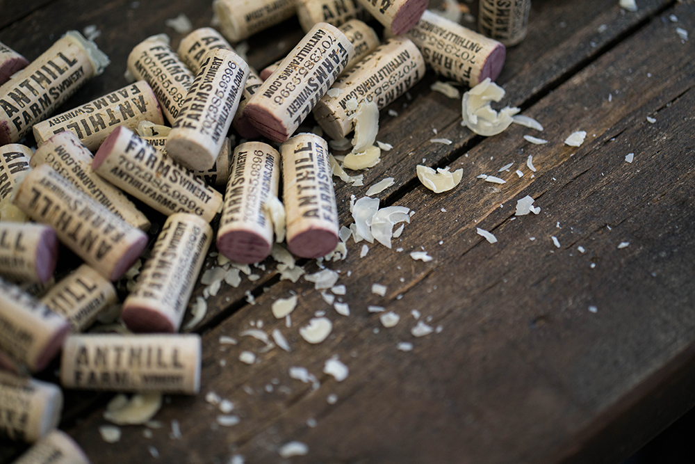A pile of Anthill Farms' bottle corks // Photo by Stephen Smith, courtesy Anthill Farms