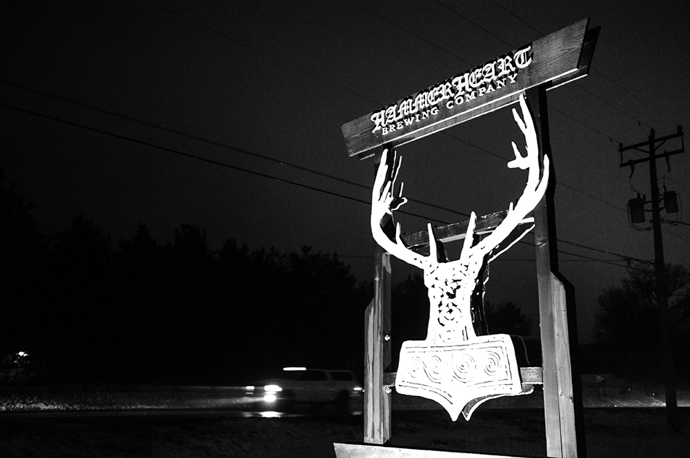 The sign for Hammerheart Brewing Company // Photo by Daniel Murphy