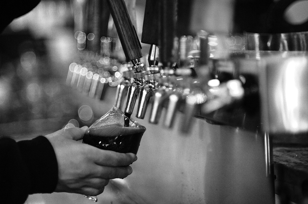 One of HammerHeart's beers being poured into a tulip glass // Photo by Daniel Murphy