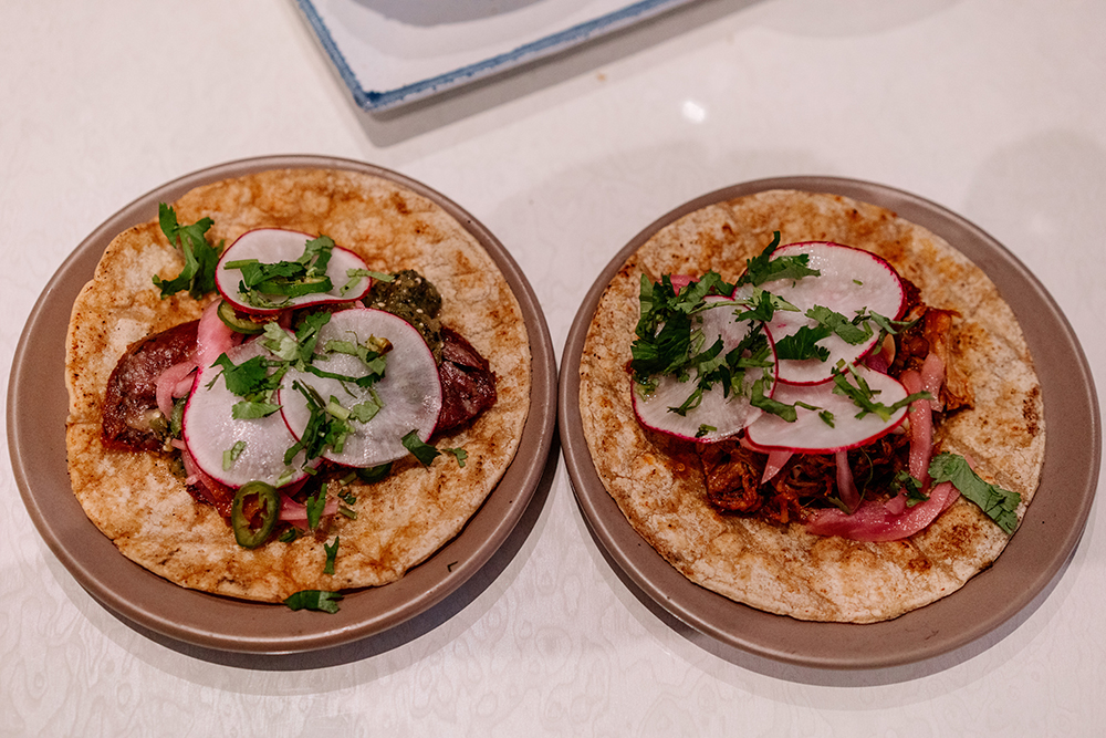 The pork shoulder and duck carnitas tacos // Photo by Becca Dilley
