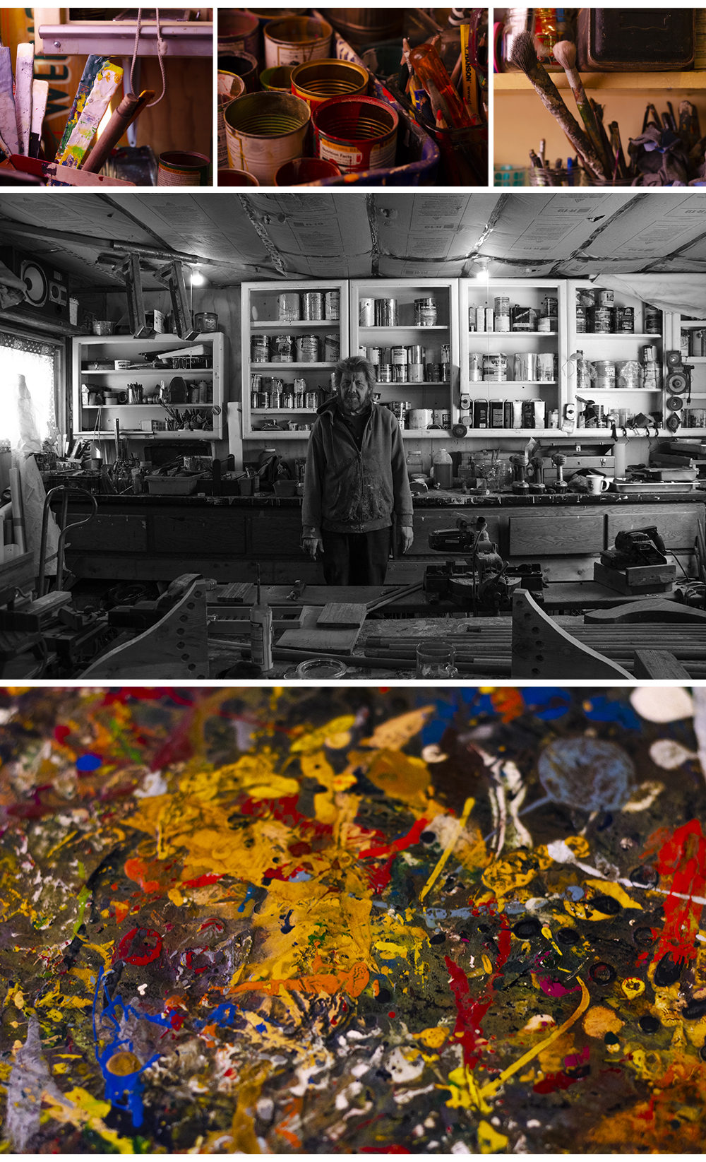 Top: The various paint cans, brushes, and tools that lay scattered atop the workbench, which is made from an old waterbed frame, in Phil's garage. Middle: Phil poses for a portrait inside of his garage. Bottom: The paint splattered and heavily layered workbench top // Photos by Aaron Job