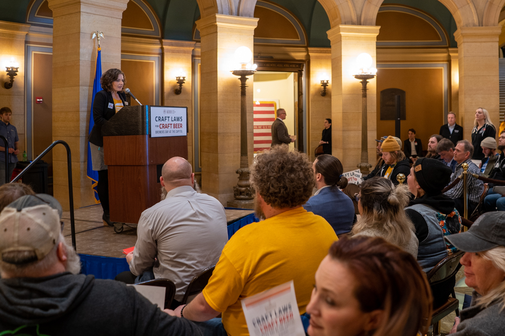 Minnesota Craft Brewers Guild executive director Lauren Bennett McGinty speaks the Brewers Day at the Capitol rally in early March 2020 // Photo by Tony Saunders