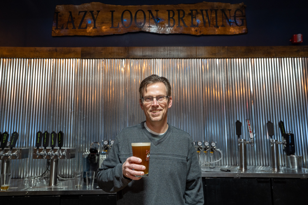 Jonathan Leuck of Lazy Loon Brewing in Glencoe, Minnesota // Photo by Tony Saunders