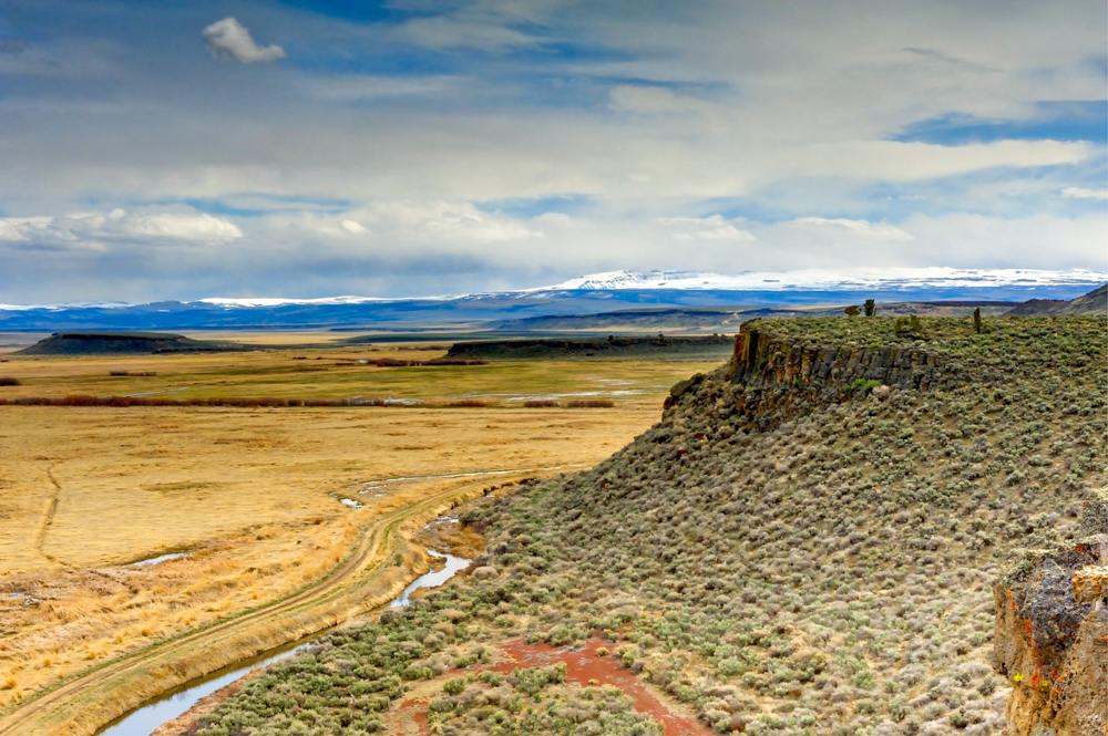 A view of the Steens Mountains from the Buena Vista Overlook located in the Malheur National Wildlife Refuge // Photo by Jeff Sorn