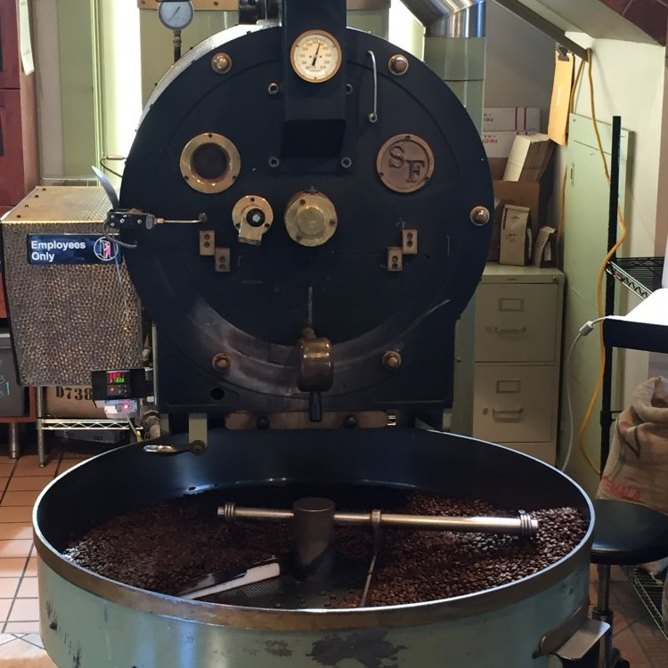 Dunn Brothers' Santa Ana coffee beans cooling after roasting // Photo courtesy of Dunn Brothers