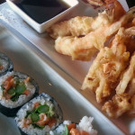 tempura and spicy salmon at soberfish