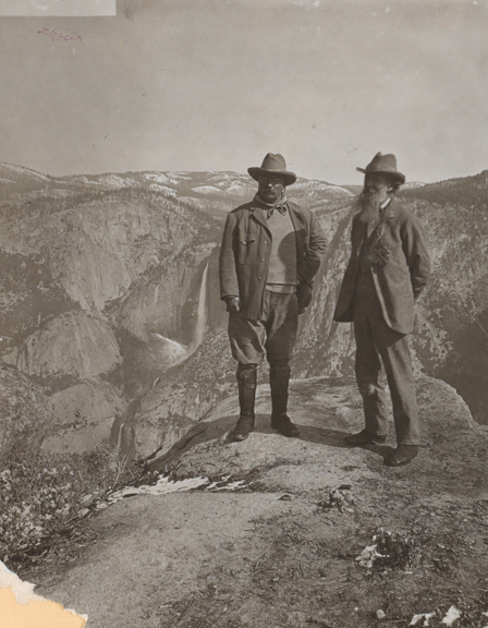Teddy Roosevelt (left) and John Muir (right) on Glacier Point, Yosemite Valley, California, in 1903 // Photo courtesy of Library of Congress, Prints & Photographs Division