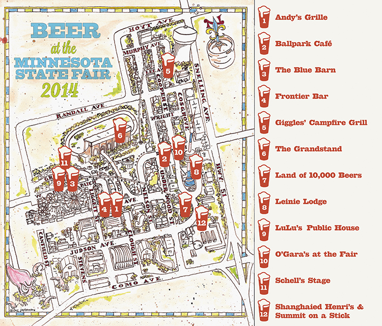State Fair Beer Map 2014 // Illustration by Jeff Nelson