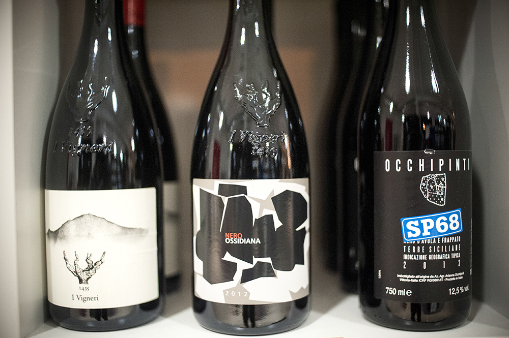 Three natural wines sold at Henry & Son in Minneapolis // Photo by Dan Murphy