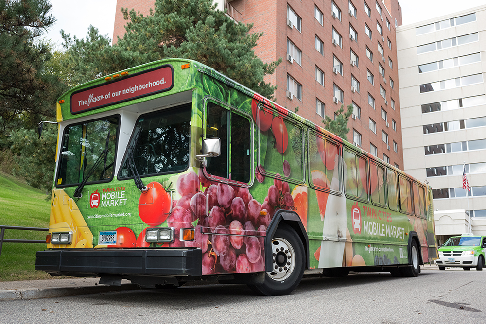 One of the Twin Cities Mobile Market buses in downtown Minneapolis // Photo by Harrison Barden