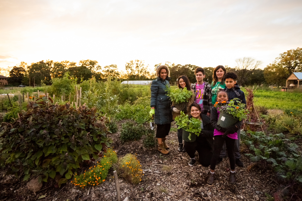 A group of volunteers at Frogtown Farms after they finished their work // Photo by Amy Anderson
