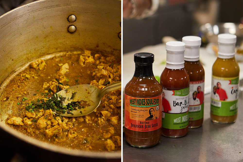 Sharon Richards-Noel's curry chicken and brand of sauces // Photos by Wing Ta