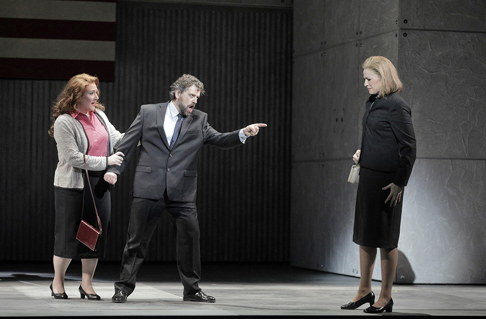 Mary Evelyn Hangley, left, as Kitty Hart, Andrew Wilkowske, middle, as Owen Hart, and Catherine Martin, right, as Sister Helen in the Minnesota Opera premiere of Dead Man Walking // Photo by Corey Weaver