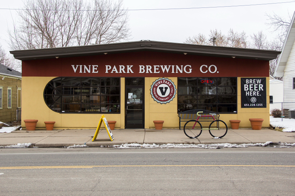 The exterior of Vine Park Brewing Company, located on West 7th Street in St. Paul, Minnesota // Photo by Brian Kaufenberg