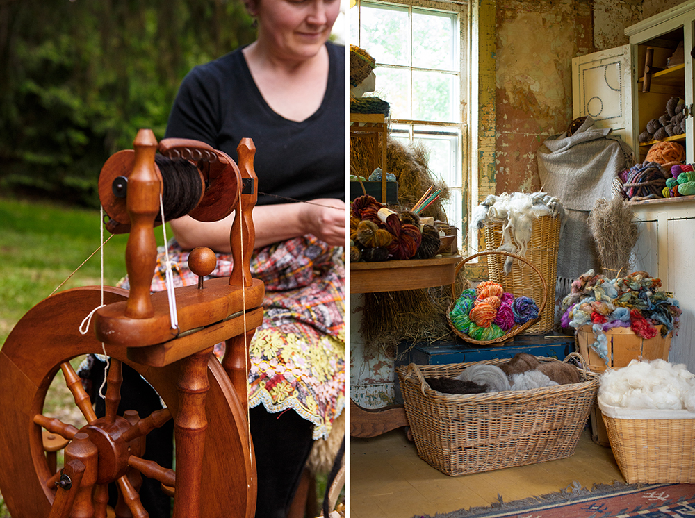 Left: A Spinning Wheel used to make yarn from the wool. Right: The My studio, full of yarn, wool, and textiles // Photo by Barbara O'Brian Photography