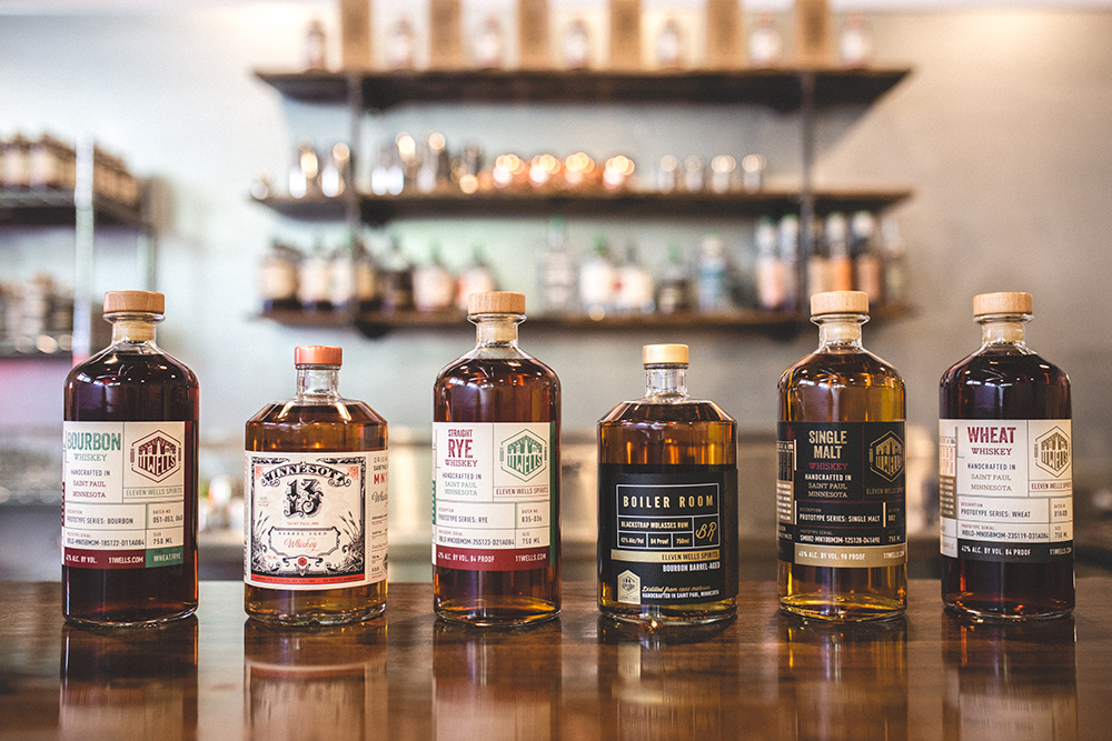 A selection of the Whiskeys 11 Wells has been working on and crafting // Photo by Sam Ziegler