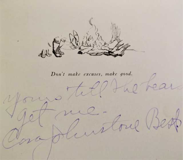 """Autograph of Johnstone Best found in a Trail Riders of the Canadian Rockies pamphlet, which reads """"Yours 'till the bears get me, Cora Johnstone Best."""" // Photo via personal collection of Cheryl Jacklin-Piraino, Minnesota Historical Society"""