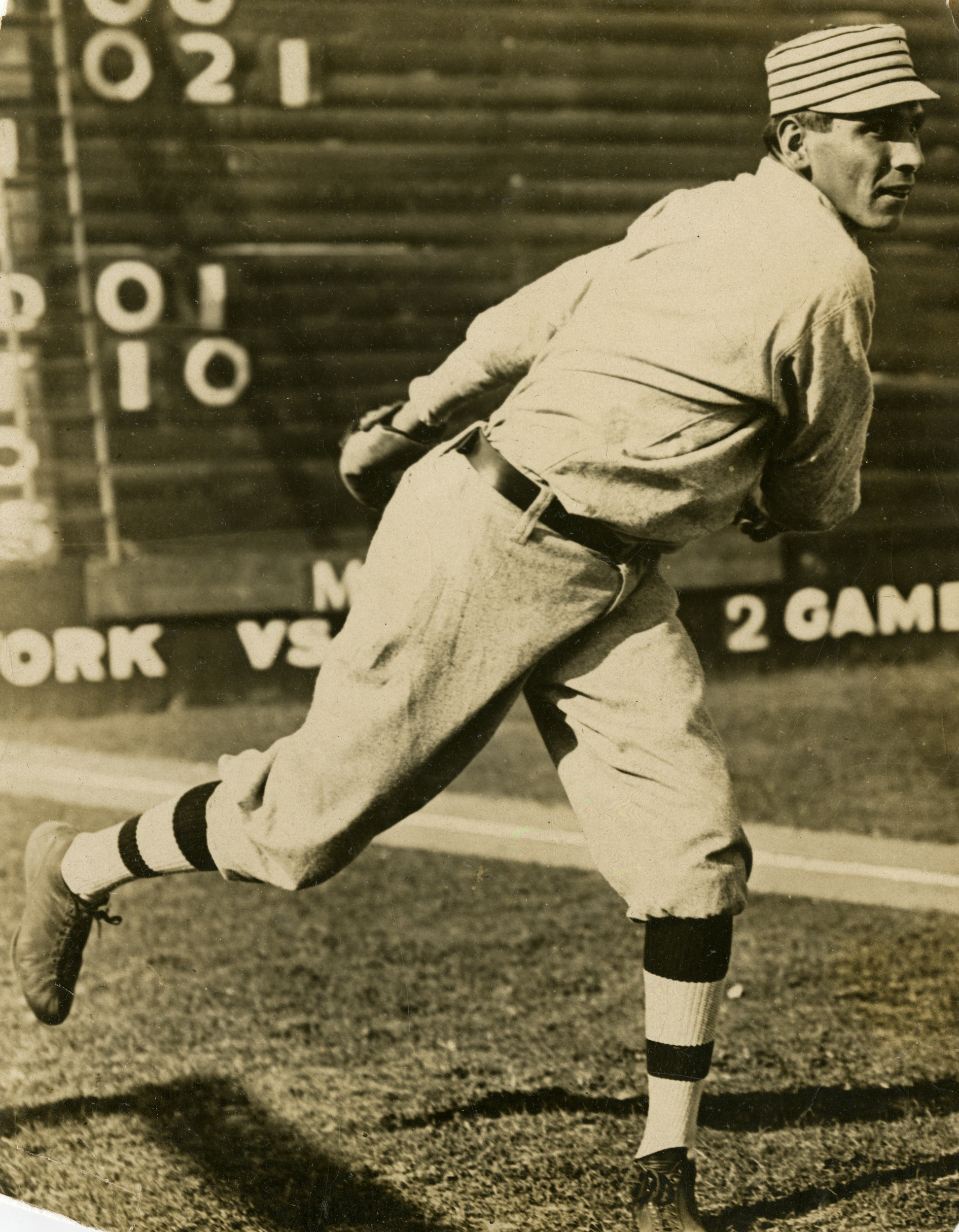 Chief Bender throwing a pitch while with the Athletics.