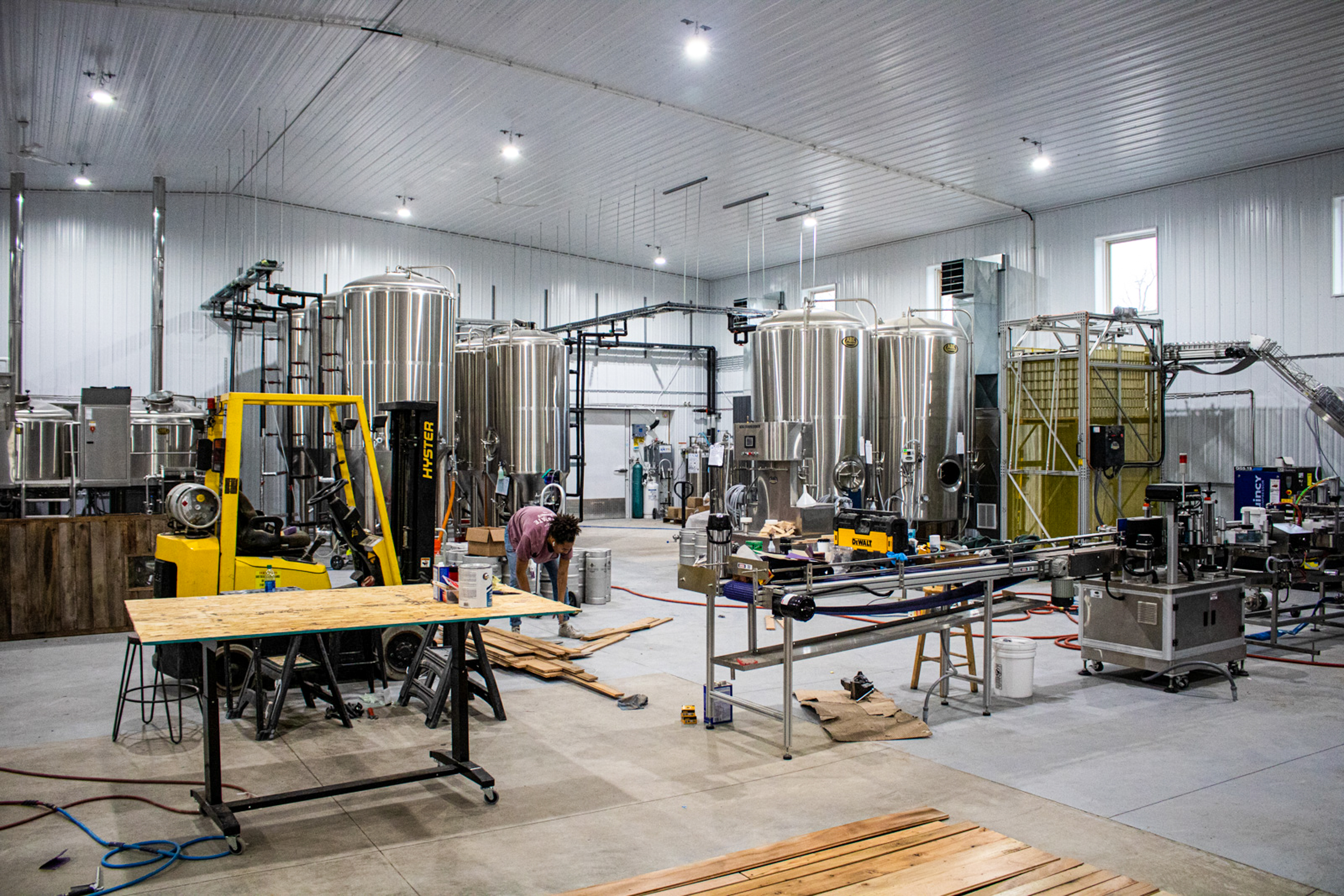 The production floor at Outstate Brewing Company in Fergus Falls // Photo by Adam and Katie Rosanas, Ale Adventures