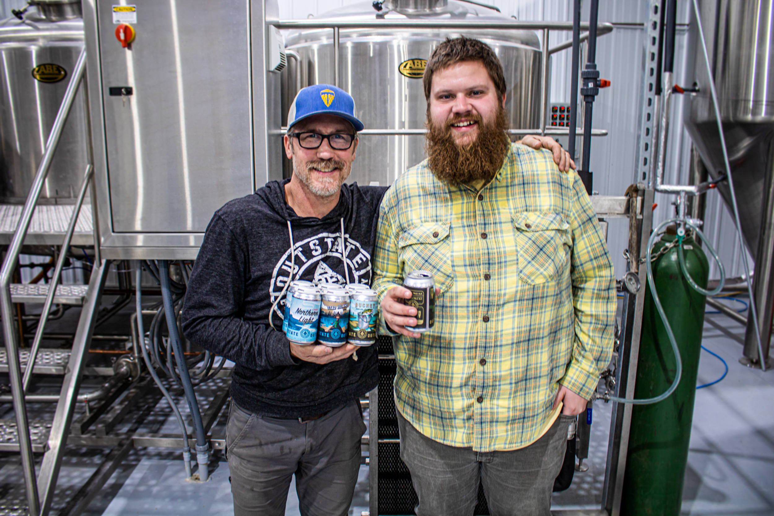 Patrick Lundgren and Dan Mohagen, cofounders of Outstate Brewing Company in Fergus Falls // Photo by Adam and Katie Rosanas, Ale Adventures