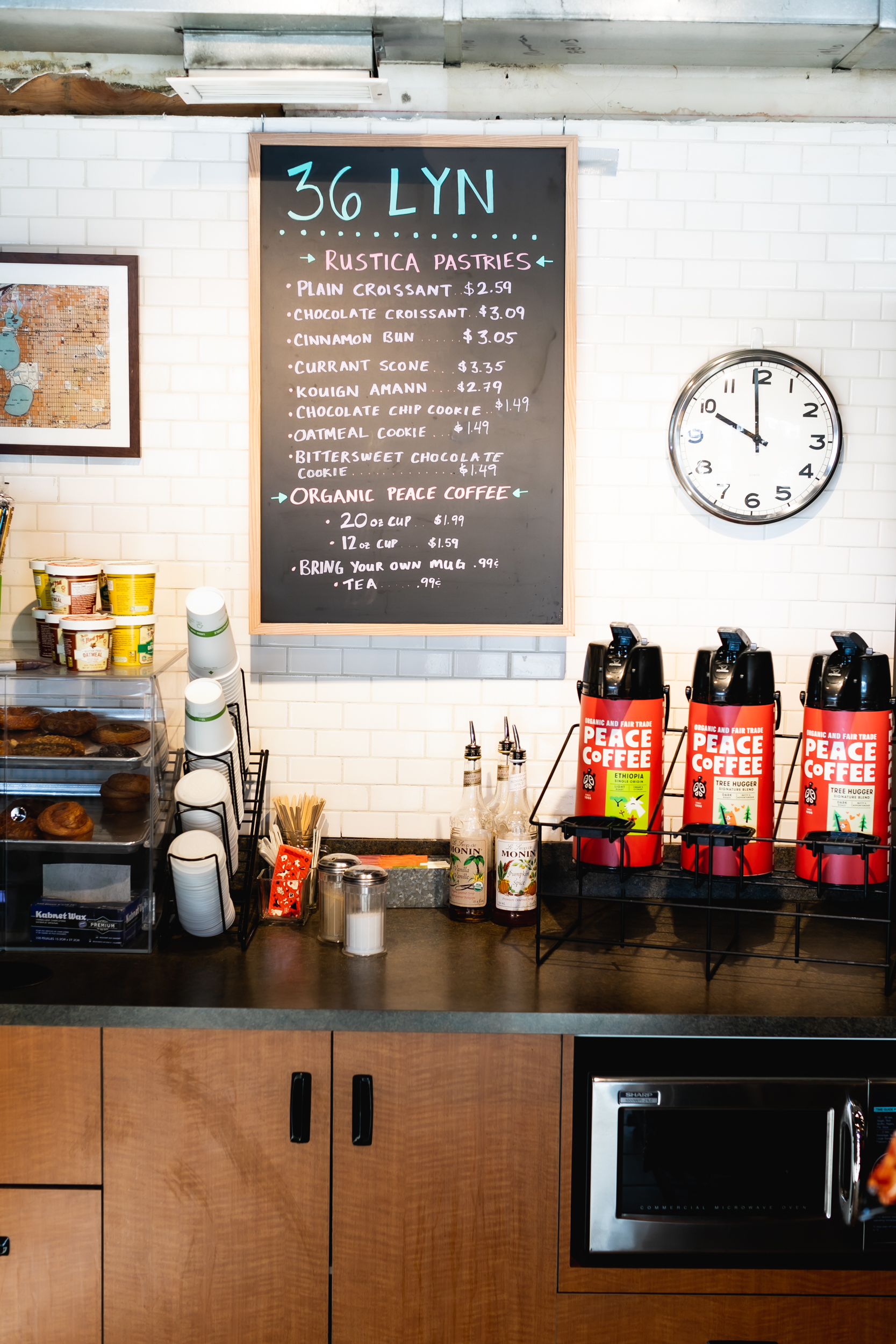 Peace Coffee and Rustica Bakery are two vendors with their products for sale at 36 Lyn Refuel Station // Photo by Garrett Born